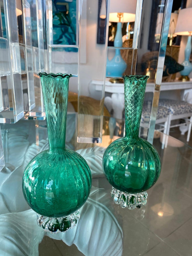 Vintage Pair of Murano Glass Emerald Green Bud Vases For Sale 5
