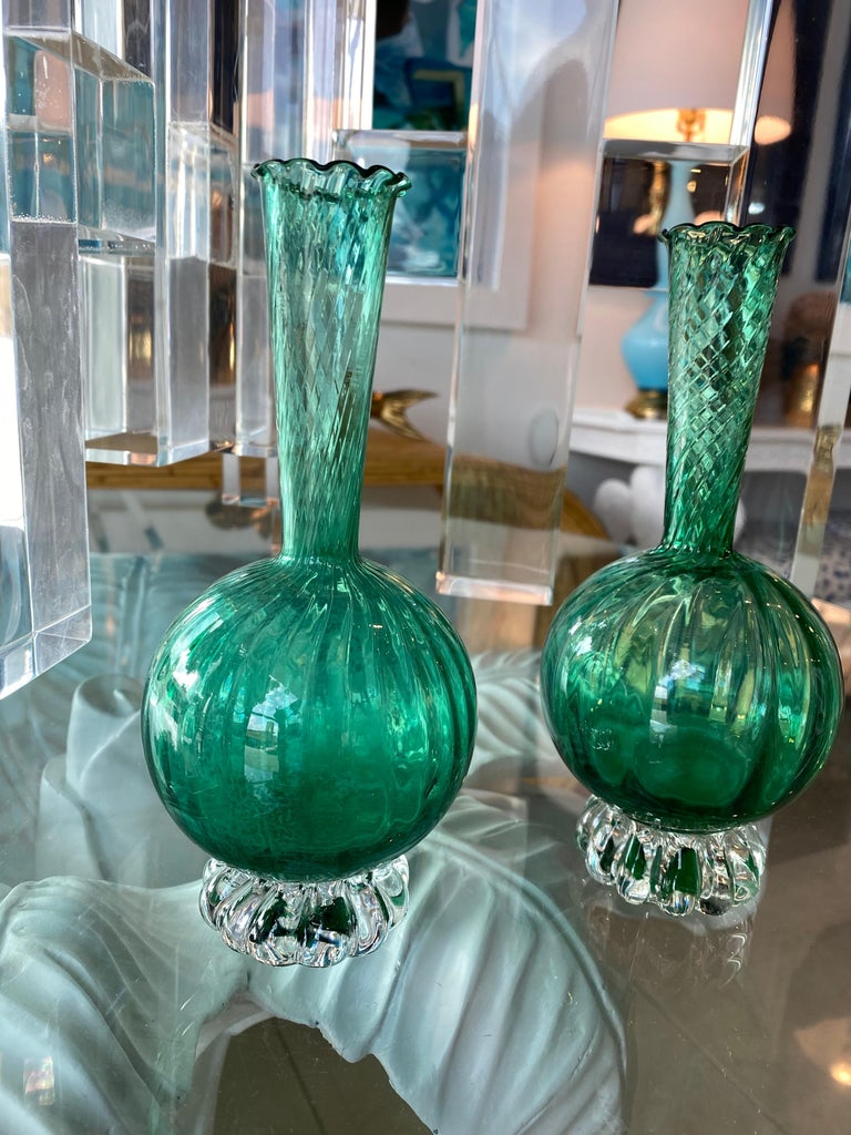Vintage Pair of Murano Glass Emerald Green Bud Vases For Sale 7