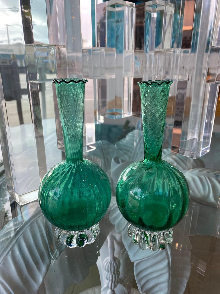 Lovely pair of vintage Murano bud vases in a beautiful emerald green color. No chips or breaks.