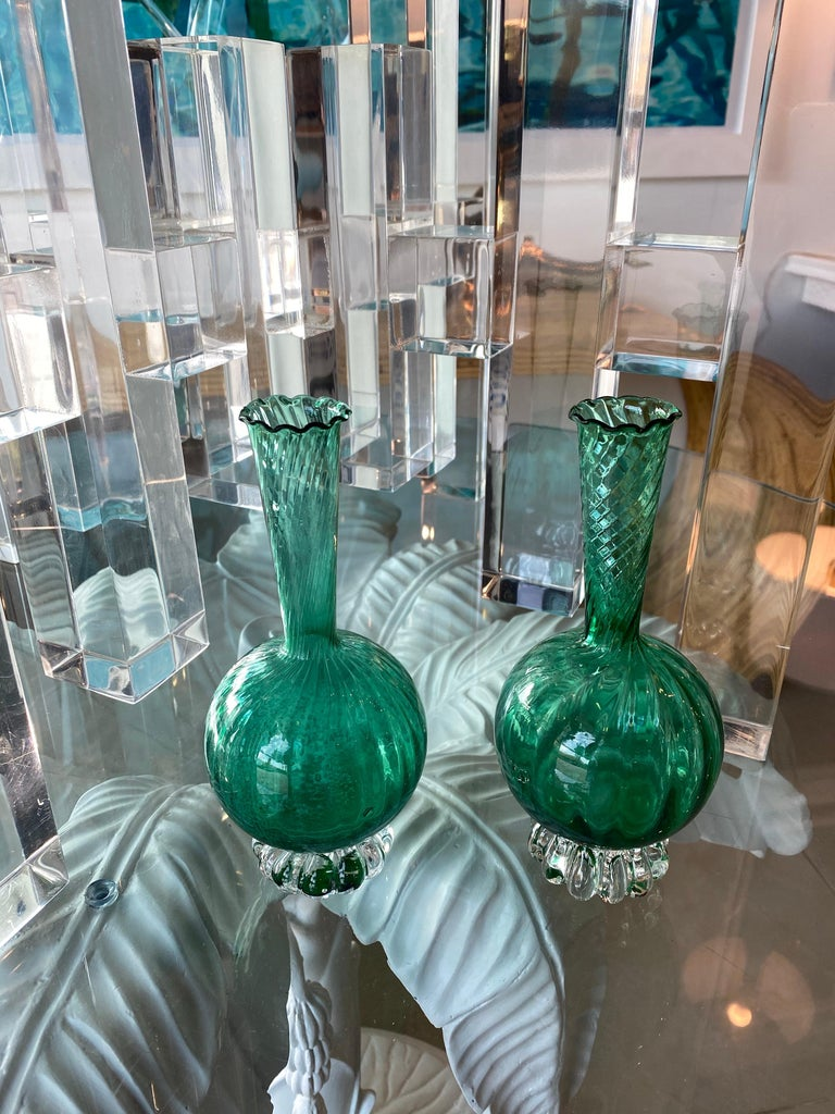 Vintage Pair of Murano Glass Emerald Green Bud Vases For Sale 2