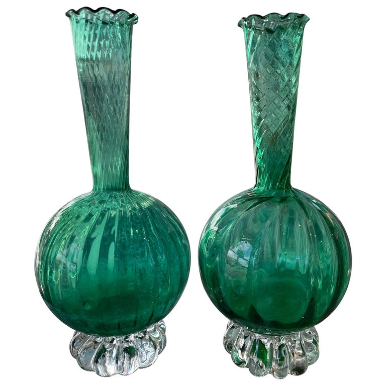 Vintage Pair of Murano Glass Emerald Green Bud Vases For Sale