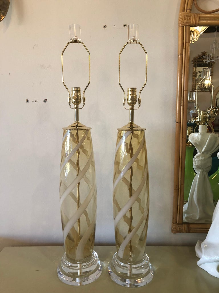 Vintage Pair of Murano Glass Table Lamps Amber Yellow Lucite Brass For Sale 5