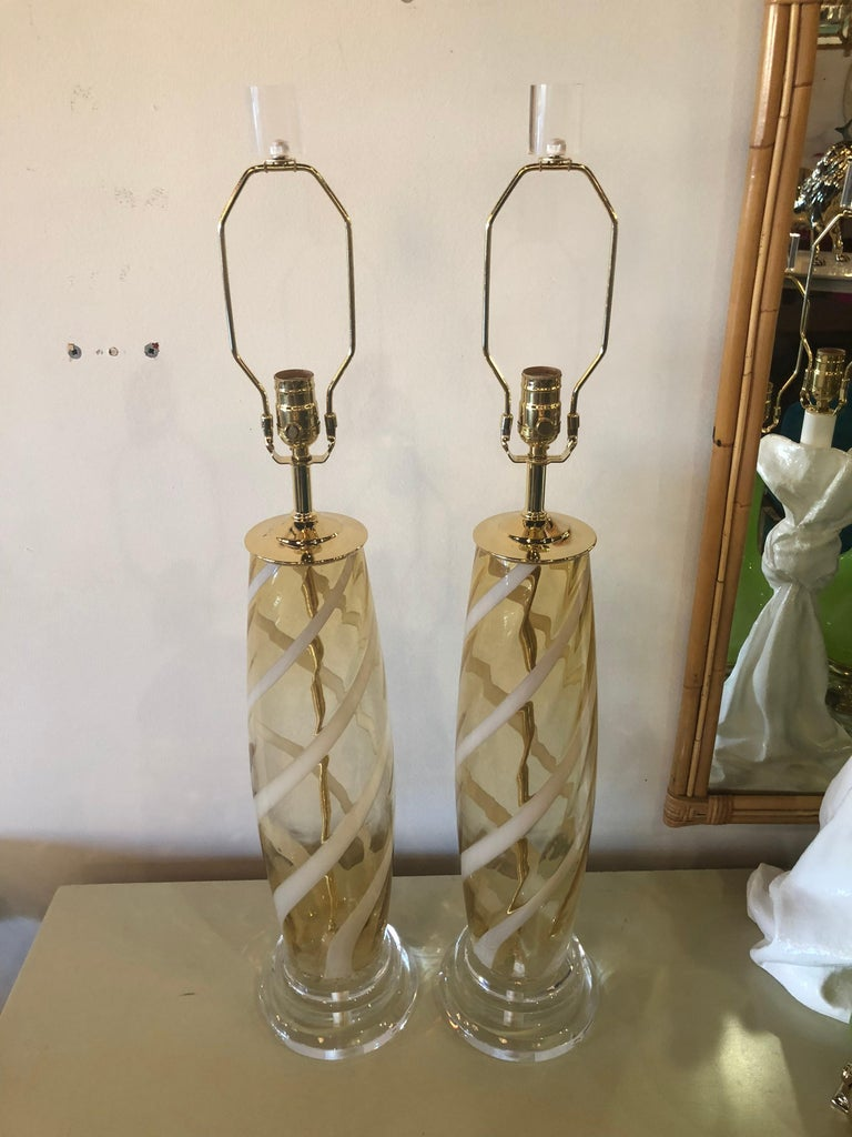 Vintage Pair of Murano Glass Table Lamps Amber Yellow Lucite Brass For Sale 7
