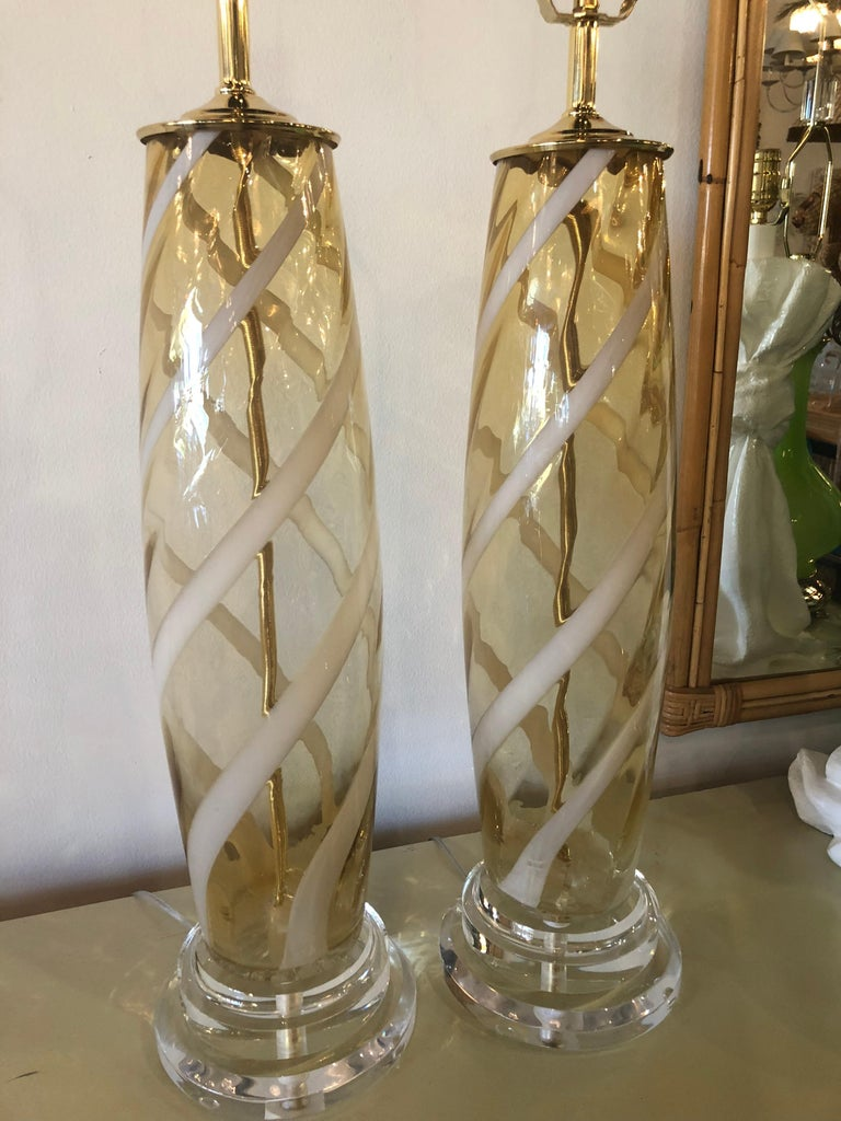 Vintage Pair of Murano Glass Table Lamps Amber Yellow Lucite Brass For Sale 8