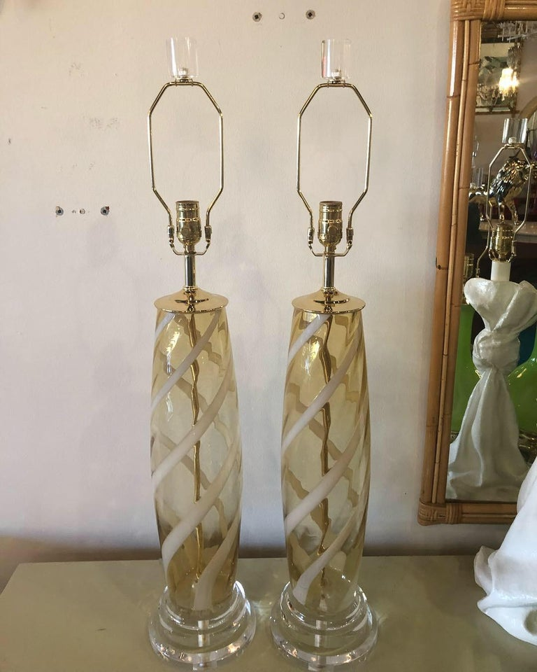Vintage Pair of Murano Glass Table Lamps Amber Yellow Lucite Brass For Sale 11
