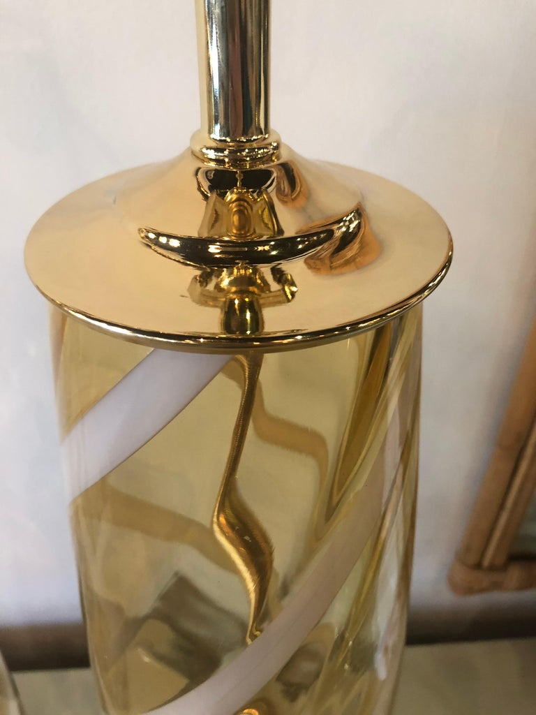 Hollywood Regency Vintage Pair of Murano Glass Table Lamps Amber Yellow Lucite Brass For Sale