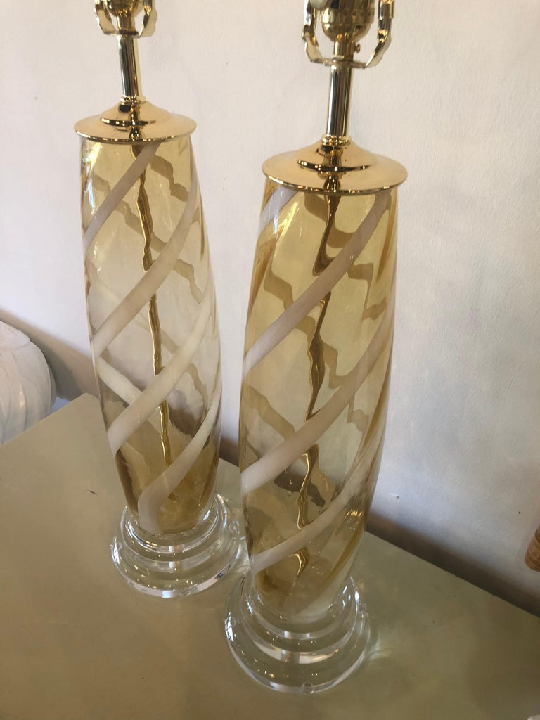 Vintage Pair of Murano Glass Table Lamps Amber Yellow Lucite Brass For Sale 2
