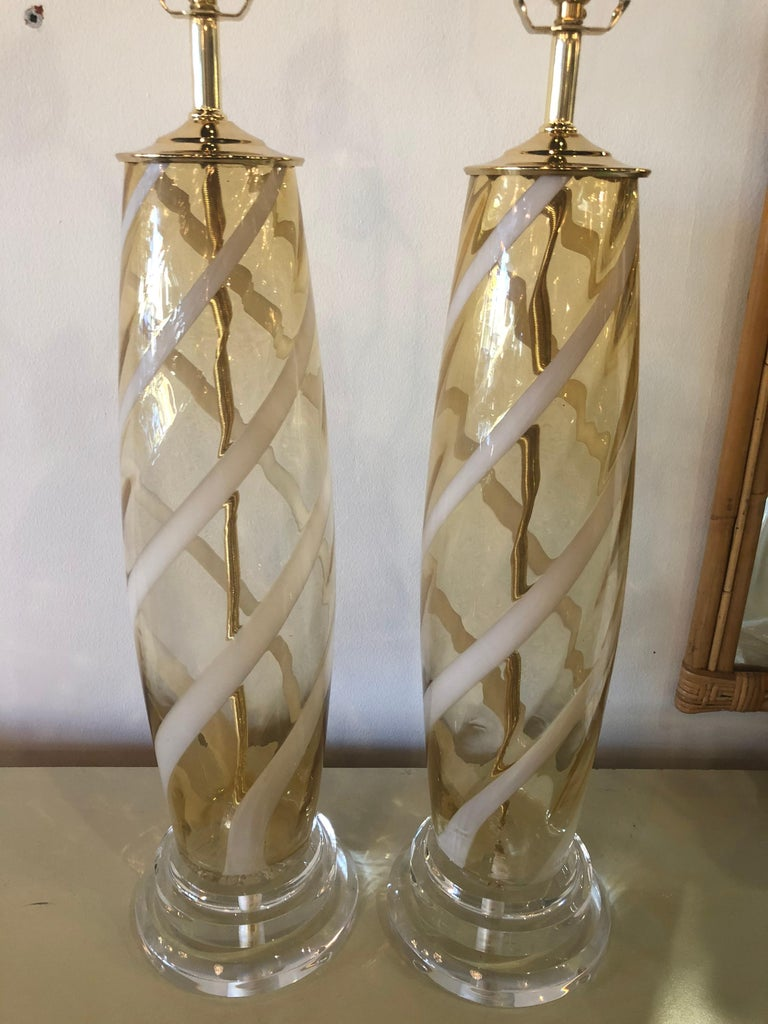 Vintage Pair of Murano Glass Table Lamps Amber Yellow Lucite Brass For Sale 3