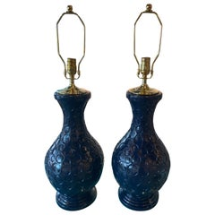 Vintage Pair of Navy Blue Plaster Table Lamps Brass Newly Wired