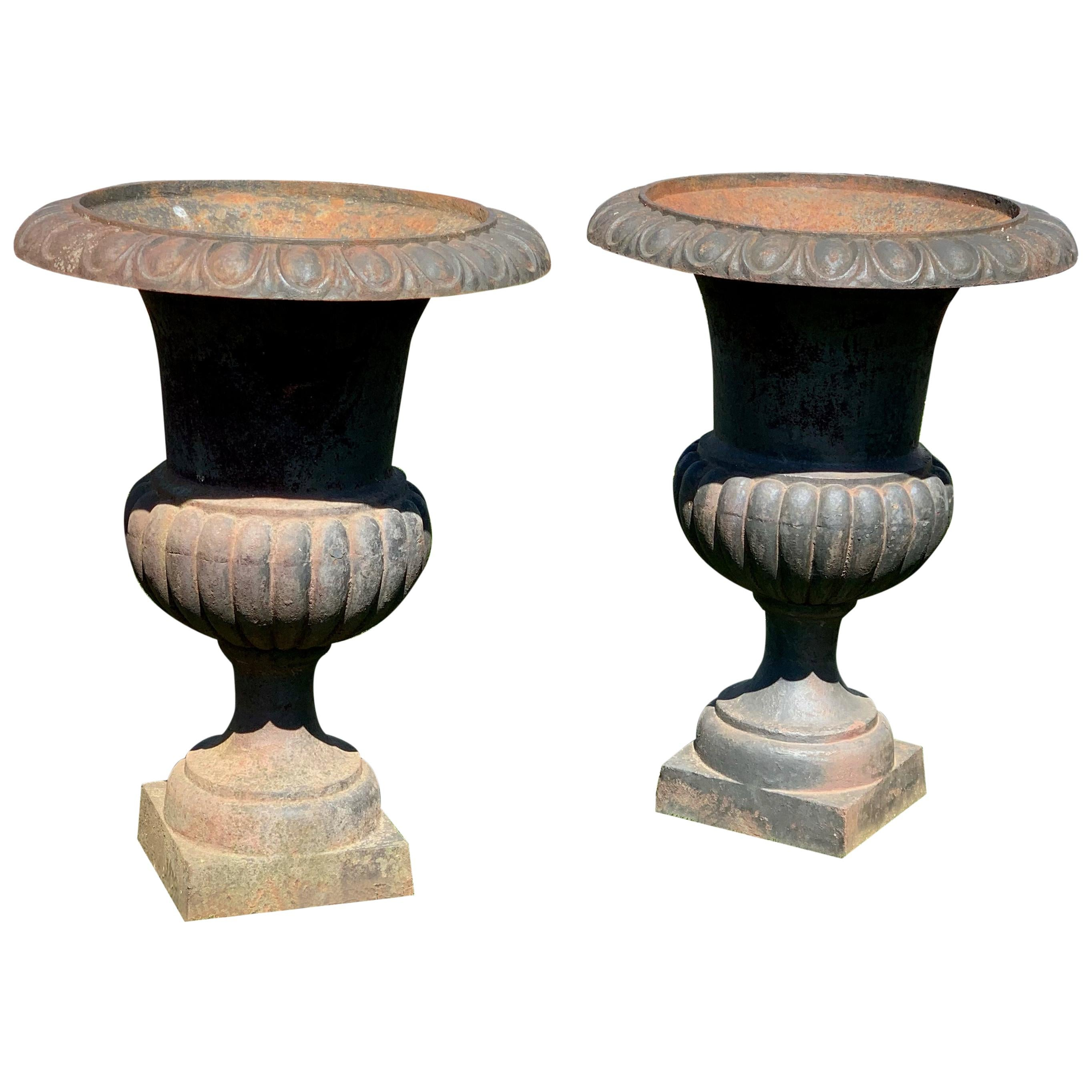 Vintage Pair of Neoclassical Cast Iron Garden Urns Planters