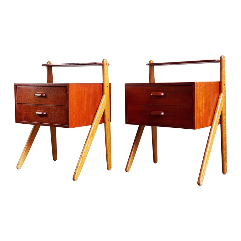 Vintage Pair of Nightstands by Sigfred Omann for Olhom Møbelfabrik, 1960s For Sale