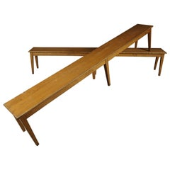 Vintage Pair of Oak Benches from France, circa 1970