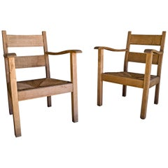 Vintage Pair of Oak Lounge Chairs from France, circa 1970