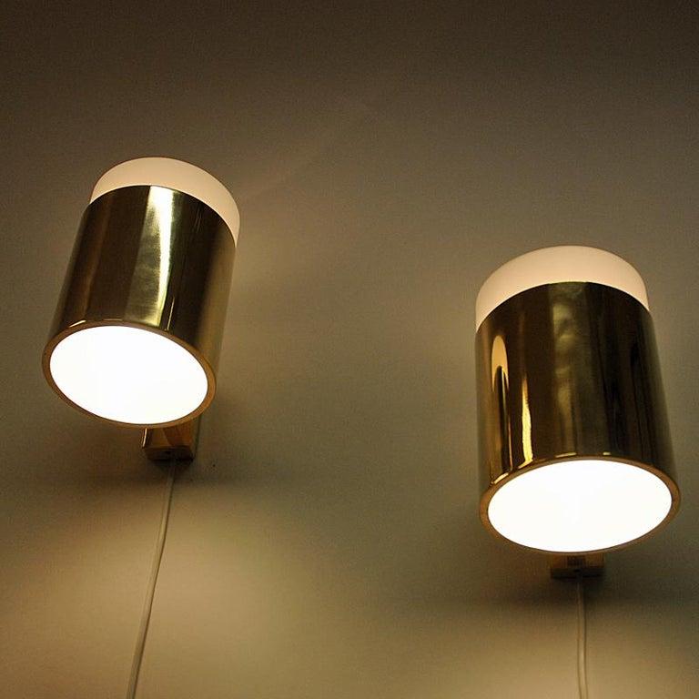 Scandinavian Modern Vintage Pair of Opaline Glass and Brass Falkenberg Wall Lamps, Sweden, 1960s For Sale