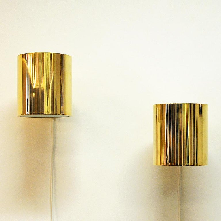 Swedish Vintage Pair of Opaline Glass and Brass Falkenberg Wall Lamps, Sweden, 1960s For Sale