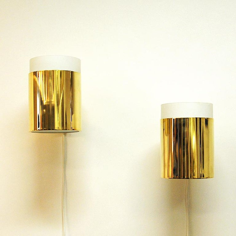 Frosted Vintage Pair of Opaline Glass and Brass Falkenberg Wall Lamps, Sweden, 1960s For Sale