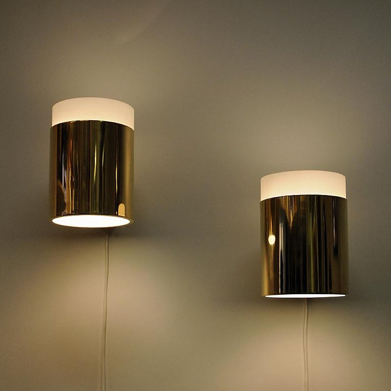 Mid-20th Century Vintage Pair of Opaline Glass and Brass Falkenberg Wall Lamps, Sweden, 1960s For Sale