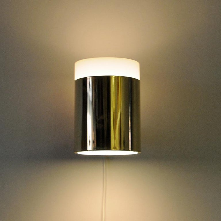 Vintage Pair of Opaline Glass and Brass Falkenberg Wall Lamps, Sweden, 1960s For Sale 1