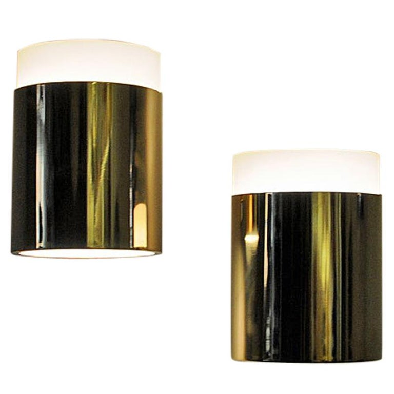 Vintage Pair of Opaline Glass and Brass Falkenberg Wall Lamps, Sweden, 1960s For Sale