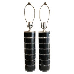 "Vintage Pair of ""Optique"" Stacked Lucite Table Lamps, circa 1985"