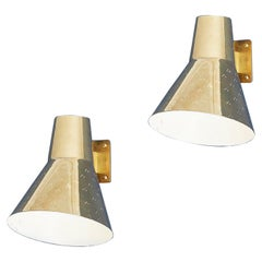 Vintage Pair of Paavo Tynell Wall Lights in Brass, Finland, Mid-20th Century