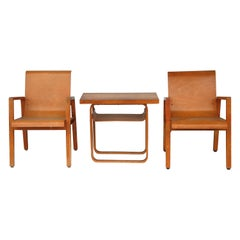 Vintage Pair of Paimio Hallway 403 Chairs and Side Table by Alvar Aalto