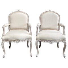 Vintage Pair of Painted and Upholstered Louis XV Style Open Armchairs