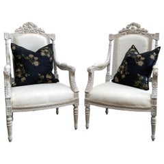 Vintage Pair of Painted and Upholstered Louis XVI Style Carved Chairs