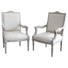 Vintage Pair of Painted and Upholstered Louis XVI Style Chairs