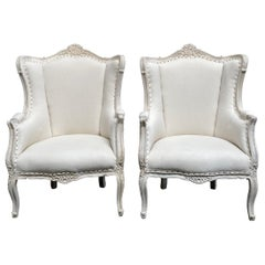 Vintage Pair of Painted French Style Wing Back Bergere Chairs