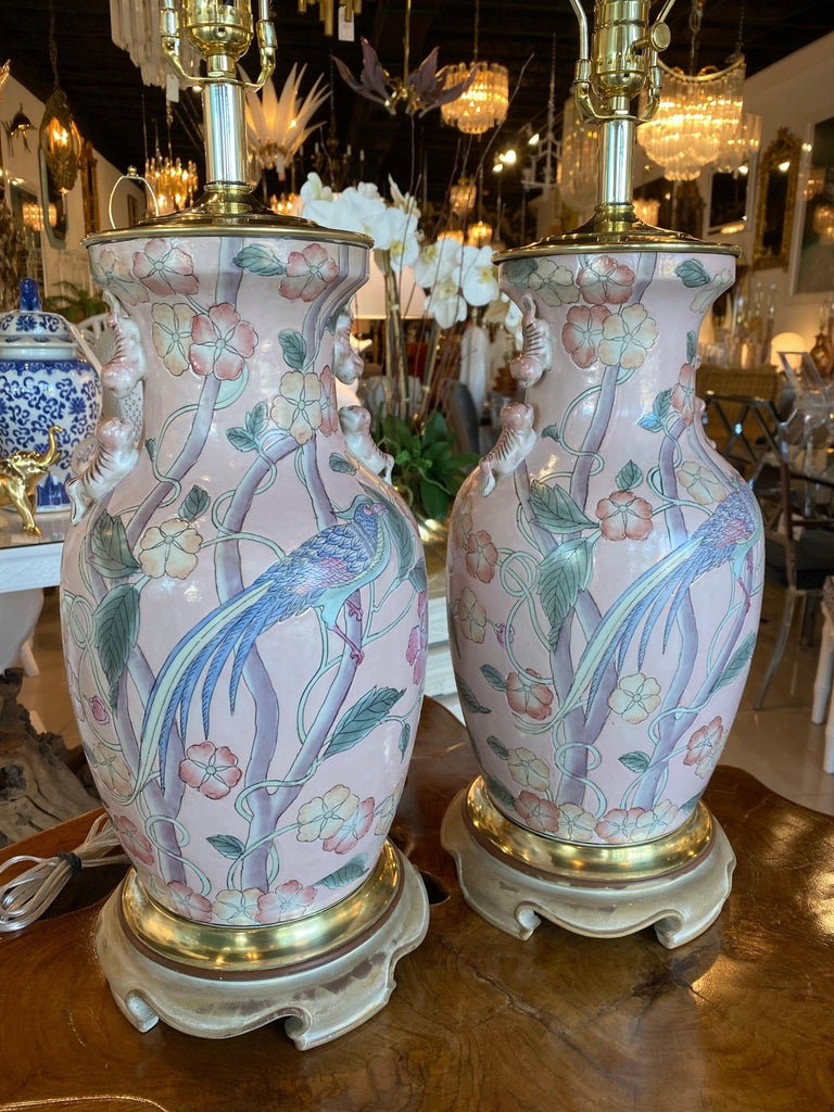 Ceramic Vintage Pair of Pale Pink Bird Floral Chinoiserie Ginger Jar Table Lamps For Sale