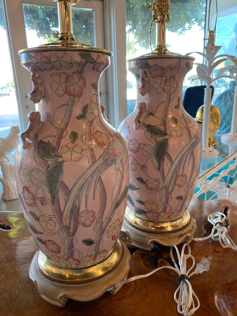 Vintage Pair of Pale Pink Bird Floral Chinoiserie Ginger Jar Table Lamps For Sale 3