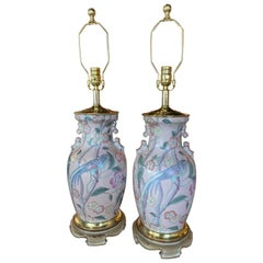 Vintage Pair of Pale Pink Bird Floral Chinoiserie Ginger Jar Table Lamps