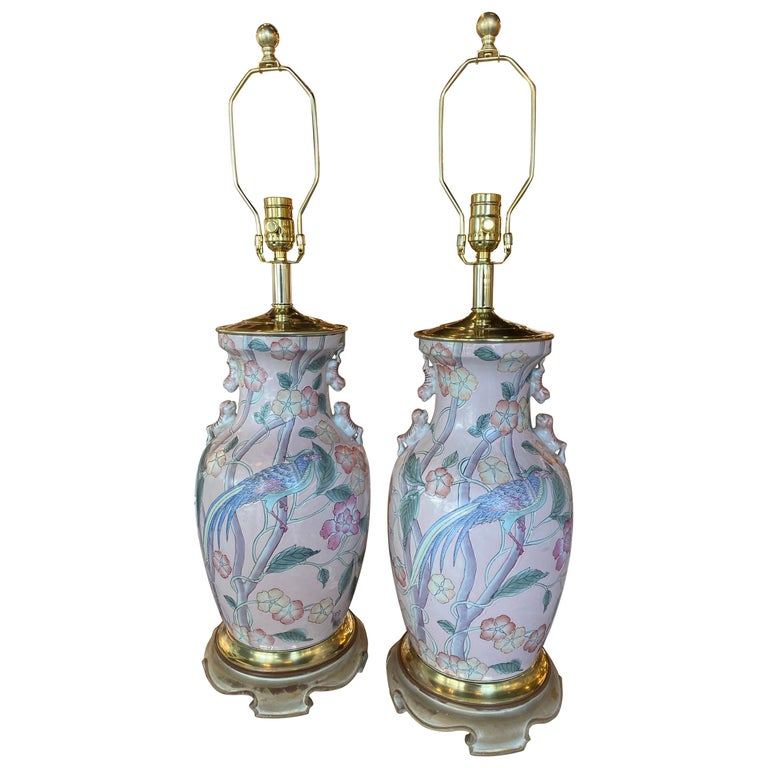 Vintage Pair of Pale Pink Bird Floral Chinoiserie Ginger Jar Table Lamps For Sale