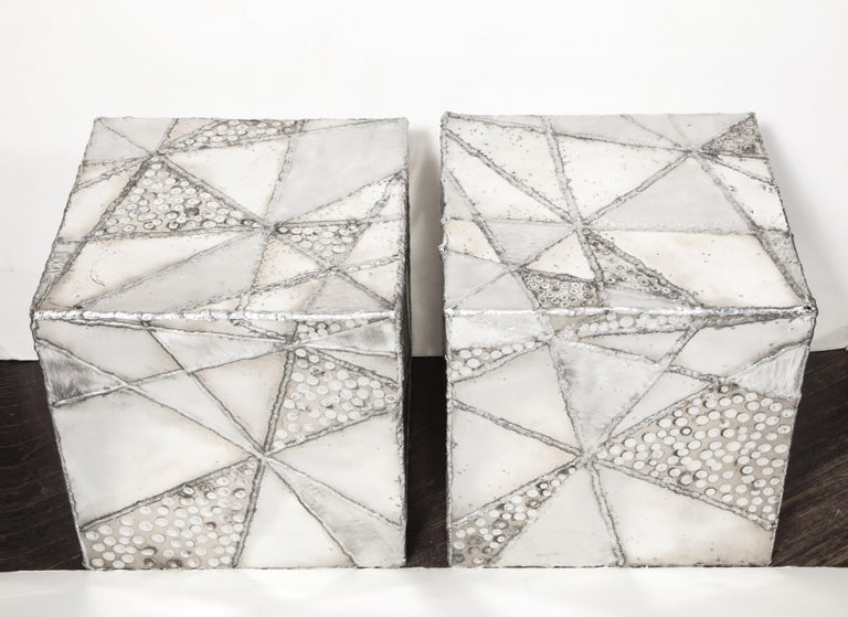 Welded Vintage Pair of Patchwork Cubes by Erich Bolinger For Sale