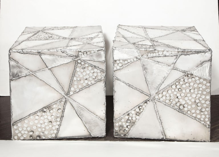 Vintage Pair of Patchwork Cubes by Erich Bolinger In Good Condition For Sale In New York, NY