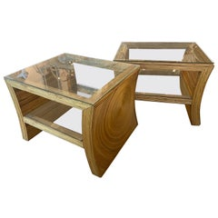 Vintage Pair of Pencil Reed Bamboo End Side Tables Double Glass Shelf