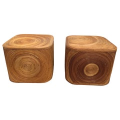 Vintage Pair of Pencil Reed Swirled Bamboo Cube Sidetables
