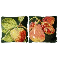Vintage Pair of Petit Point Embroidery Pillows, Cushions, Sweden, 1930s