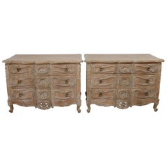 Vintage Pair of Pickled Carved Wood Nightstands Chest of Drawers
