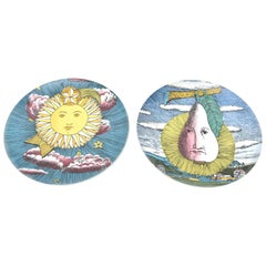 Vintage Pair of Piero Fornasetti for Rosenthal Mesi and Soli Porcelain Plates