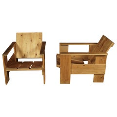 Vintage Pair of Pine Crate Chairs from Holland, 1980s