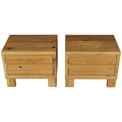 Vintage Pair of Pine Nightstands from Sweden, 1960s