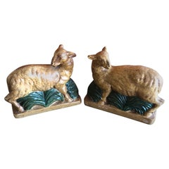 Vintage Pair of Plaster Lamb / Sheep Bookends by Borghese of Italy