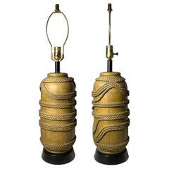 Vintage Pair of Plaster Nautical Buoy Rope Lamps