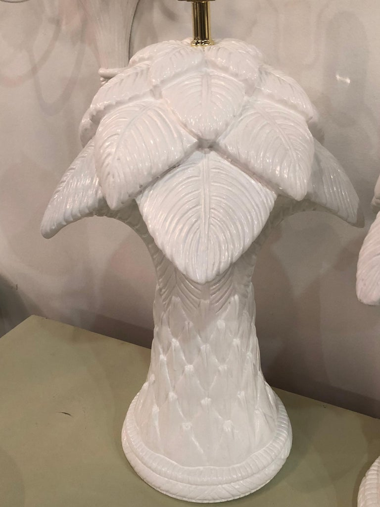 Vintage Pair Of Plaster Palm Tree Frond Leaves Table Lamps