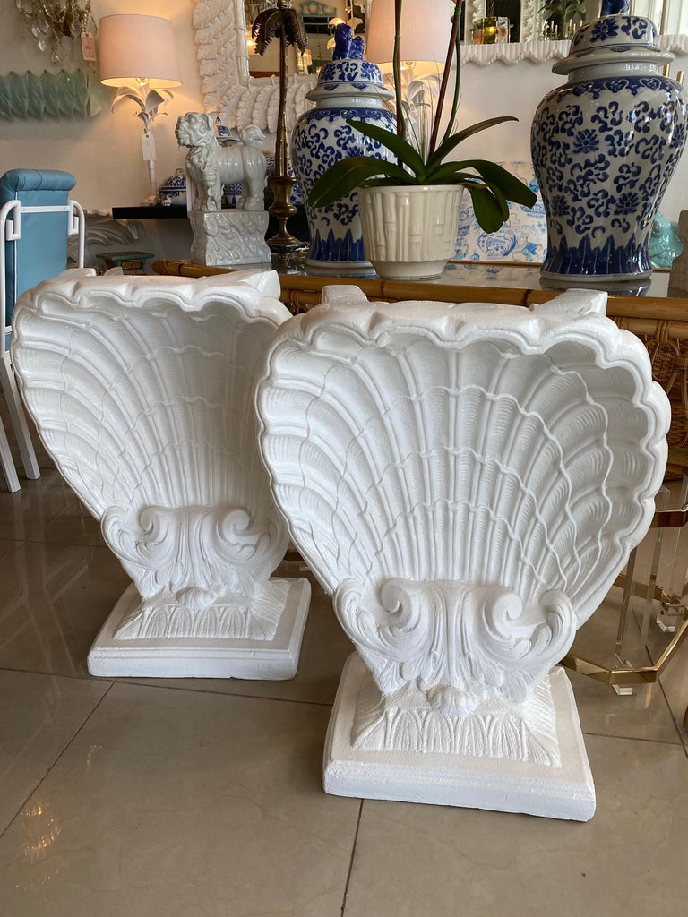 Lovely pair of vintage plaster seashell scalloped shell dining table, console table, or desk bases. These have been professionally lacquered in a soft satin white to give them a clean look. You can top with your own glass.