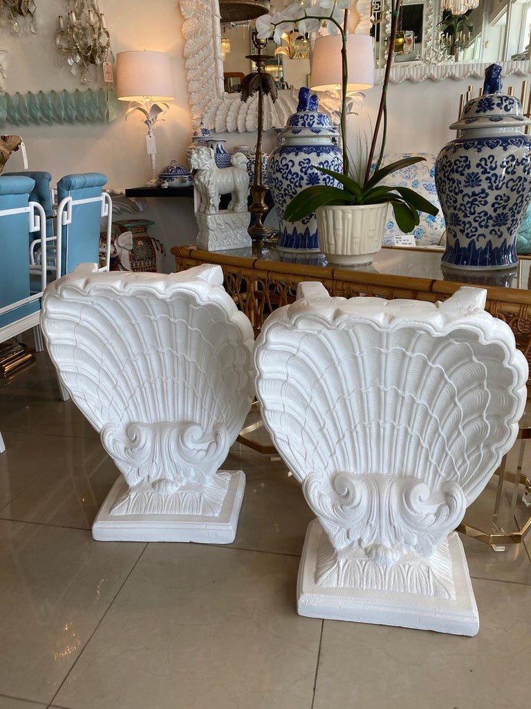 Hollywood Regency Vintage Pair of Plaster Seashell Scallop Shell Dining Table or Desk Bases For Sale