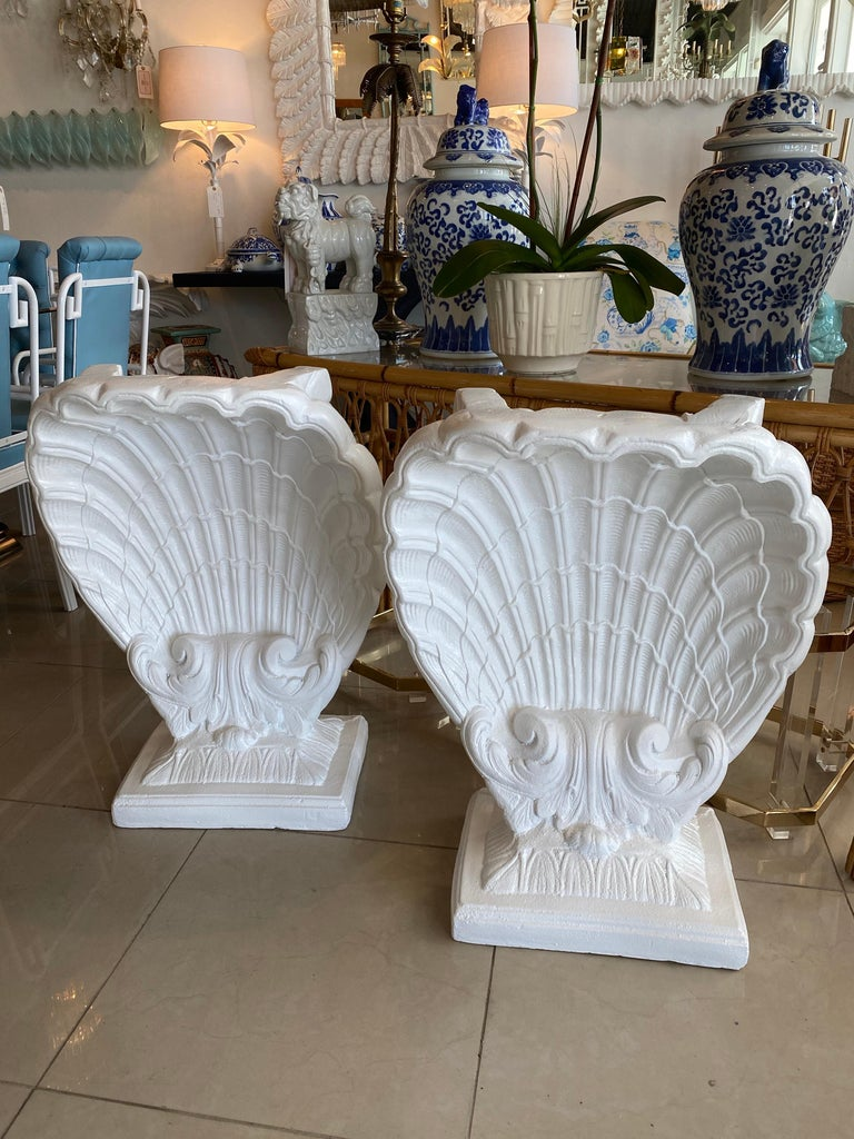 American Vintage Pair of Plaster Seashell Scallop Shell Dining Table or Desk Bases For Sale