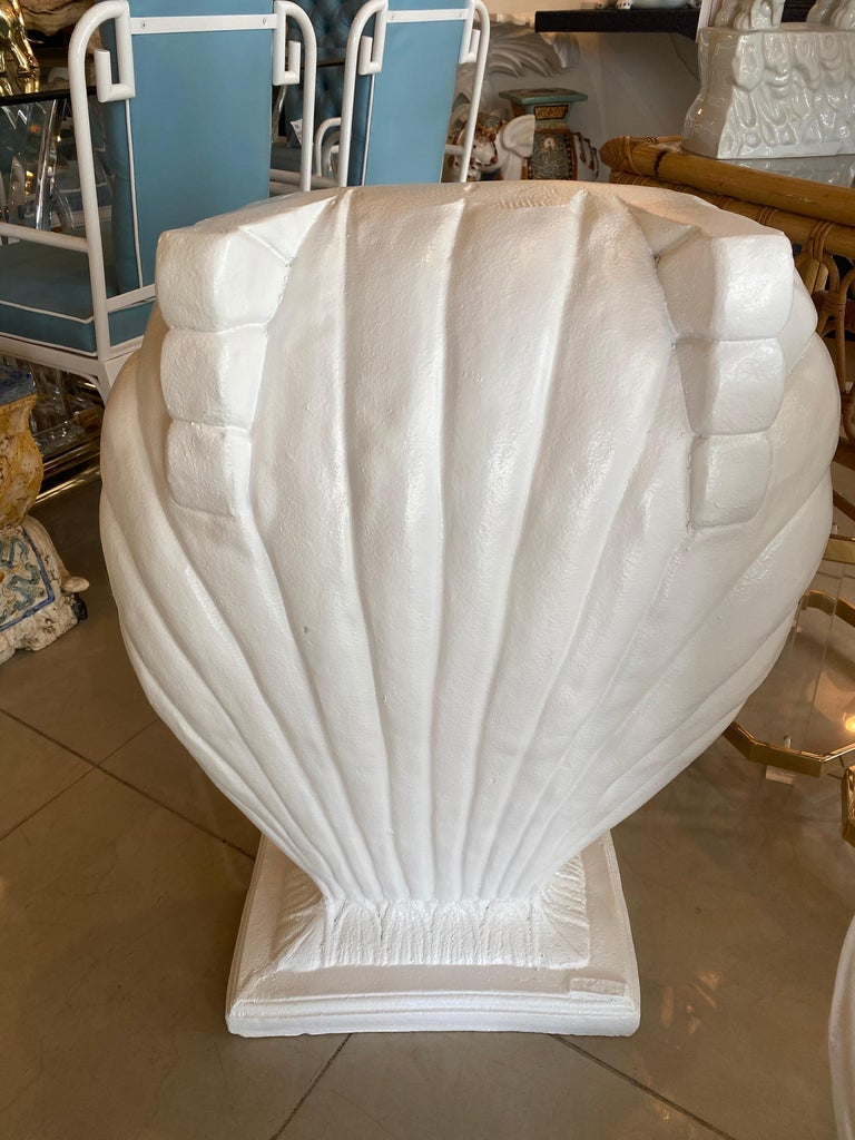 Vintage Pair of Plaster Seashell Scallop Shell Dining Table or Desk Bases For Sale 2